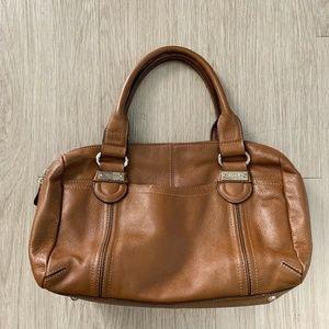 Tignanello Genuine Leather Purse Satchel Carmel
